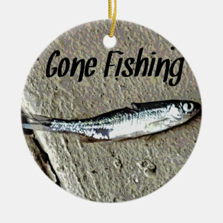 "Minnow Bait ""Gone Fishing"" Round Ceramic Ornament"