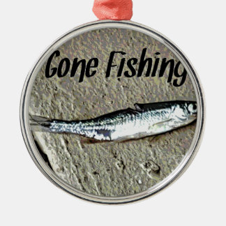 "Minnow Bait ""Gone Fishing"" Silver-Colored Round Ornament"