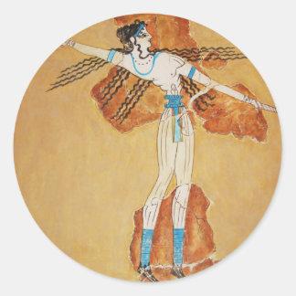 Minoan Fresco Art Minoan Art of Ancient Crete Round Sticker