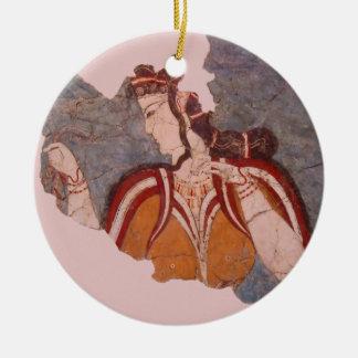 Minoan Wall Painting Round Ceramic Ornament