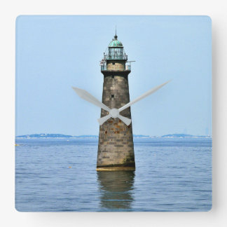 Minots Ledge Lighthouse Mass. Square Wall Clock
