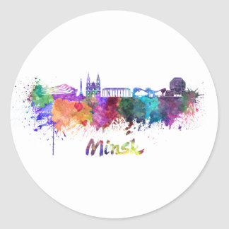 Minsk skyline in watercolor classic round sticker
