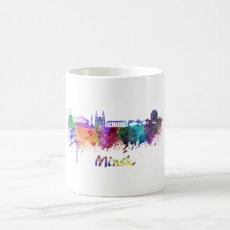 Minsk skyline in watercolor coffee mug