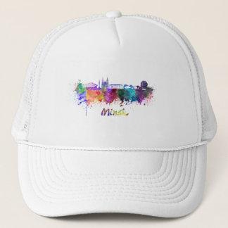 Minsk skyline in watercolor trucker hat
