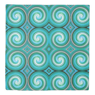 Mint Abstract Swirl Pattern Duvet Cover