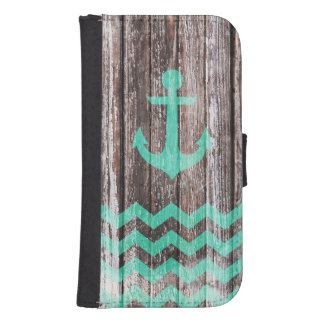 Mint Anchor on old wood Galaxy S4 Wallet Cases