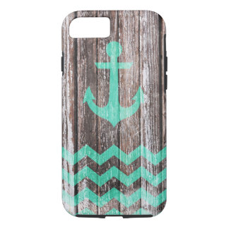 Mint Anchor on old wood iPhone 7 Case