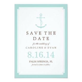 """Mint Anchor Wedding Save the Date 5"""" X 7"""" Invitation Card"""