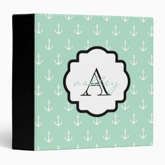Mint and Black Anchor Monogram Binder