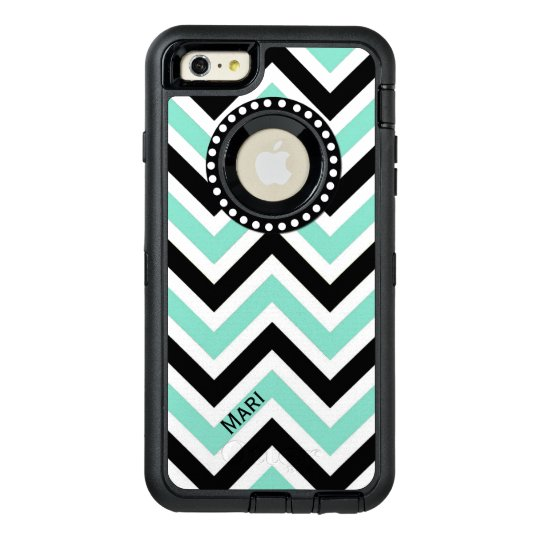 Mint and Black Chevron Otterbox iPhone 6 Plus Case