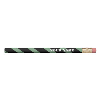Mint and Black Diagonal Stripes Add Your Name Pencil
