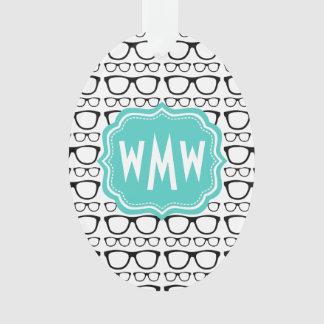 Mint and Black Monogrammed Nerdy Glasses