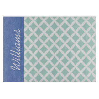 Mint and Blue Diamonds Custom Monogram Boards