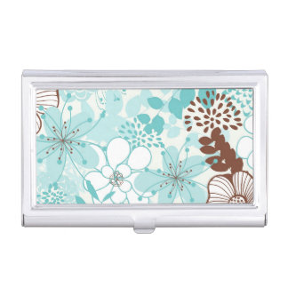 Mint and Brown Modern Floral Pattern Business Card Case