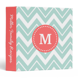 Mint and Coral Chevron Custom Monogram 3 Ring Binders