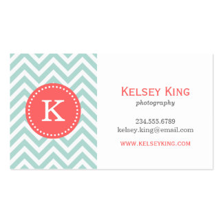 Mint and Coral Chevron Custom Monogram Pack Of Standard Business Cards