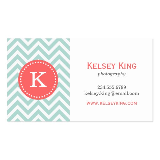Mint and Coral Chevron Custom Monogram Business Card Templates
