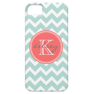 Mint and Coral Chevron Custom Monogram iPhone 5 Covers