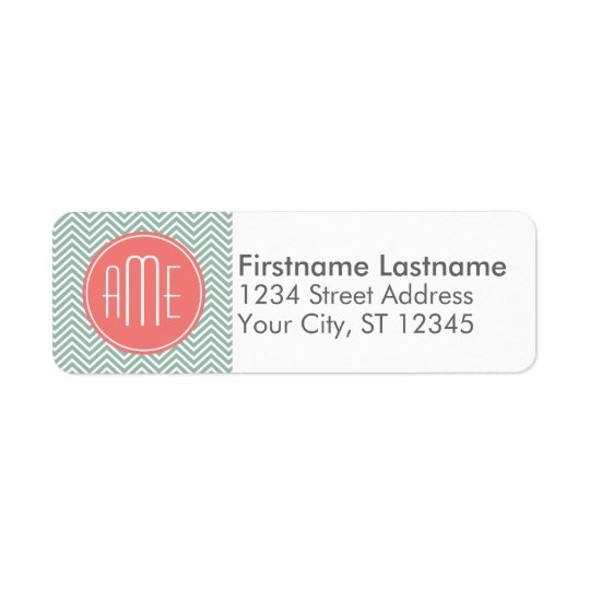 Mint and Coral Chevrons Custom Monogram Return Address Label