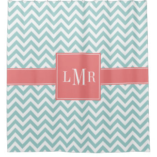 Mint and Coral Chevrons Monogram