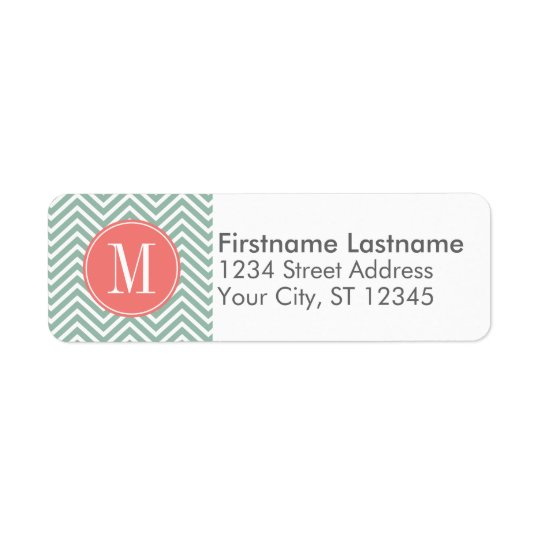 Mint and Coral Chevrons with Custom Monogram