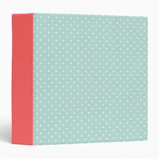 Mint and Coral Cute Tiny Polka Dots Binders