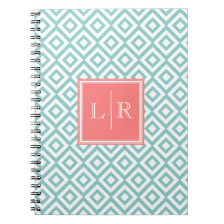 Mint and Coral Diamonds Pattern Monogrammed Notebook