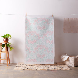 Mint and Coral Floral Damask Pattern Fabric