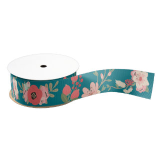 Mint and Coral Floral Grosgrain Ribbon
