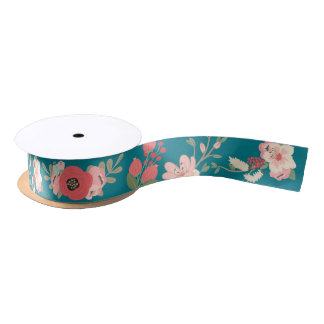 Mint and Coral Floral Satin Ribbon