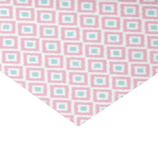 Mint and Coral Ikat Pattern Tissue Paper