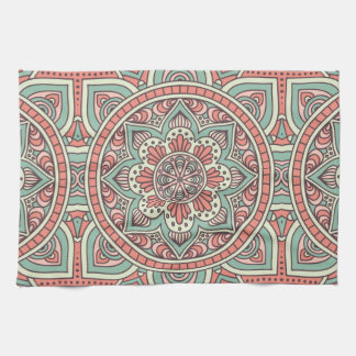Mint and Coral Mandala Pattern | Kitchen Towels