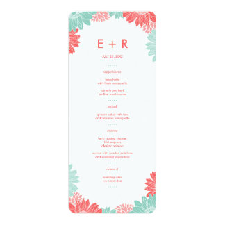 Mint and Coral Modern Floral Wedding Menu Cards