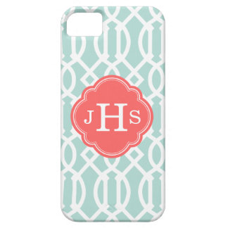Mint and Coral Modern Trellis Custom Monogram Case For The iPhone 5
