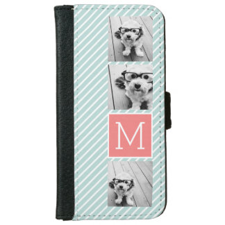 Mint and Coral Photo Collage Custom Monogram iPhone 6 Wallet Case