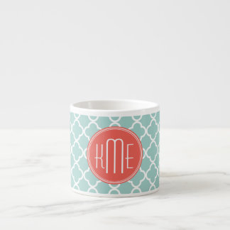 Mint and Coral Quatrefoil with Custom Monogram Espresso Mug