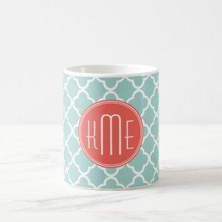 Mint and Coral Quatrefoil with Custom Monogram Mugs