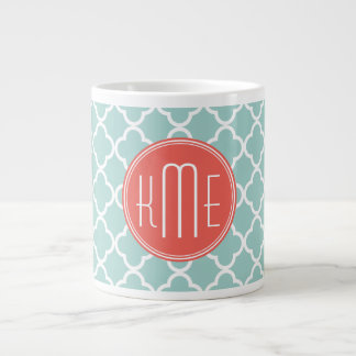 Mint and Coral Quatrefoil with Custom Monogram Extra Large Mugs