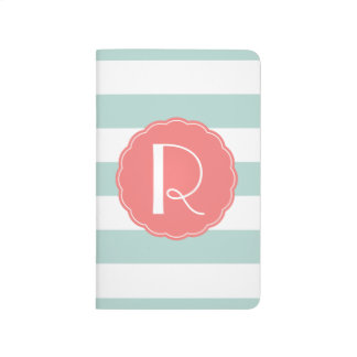 Mint and Coral Striped Monogram Journal