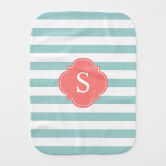 Mint and Coral Stripes Monogram Baby Burp Cloths