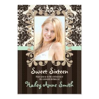 "Mint and Dark Brown Vintage Damask Sweet Sixteen 5"" X 7"" Invitation Card"