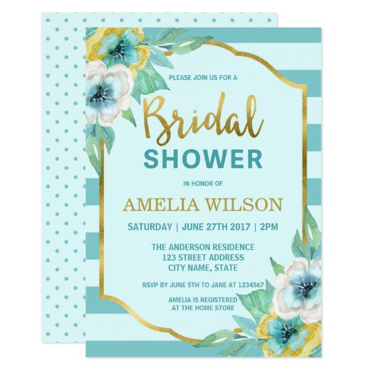 Mint and Faux Gold Floral Bridal Shower Invitation