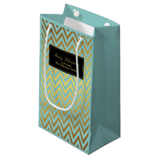 Mint and Faux Gold Foil Chevrons Pattern Small Gift Bag