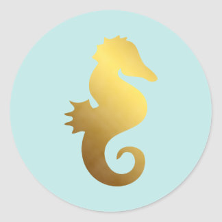 Mint and Faux Gold Foil Seahorse Classic Round Sticker