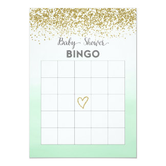 Mint and Gold Baby Shower Bingo Card