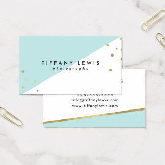Mint and Gold Business Cards