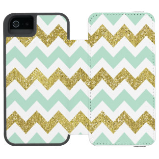Mint and Gold Chevron Faux Glitter Stripes Incipio Watson™ iPhone 5 Wallet Case