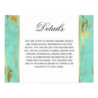Mint and Gold Faux Foil Marble Pattern Details Postcard