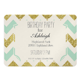 Mint and Gold Faux Glitter Chevron birthday Card