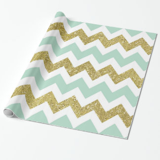Mint and Gold Faux Glitter Chevron Wrapping Paper